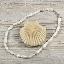 Biwa, fehér, hosszában fúrt tenyésztett gyöngy nyaklánc, 7x20 mm, 40 cm