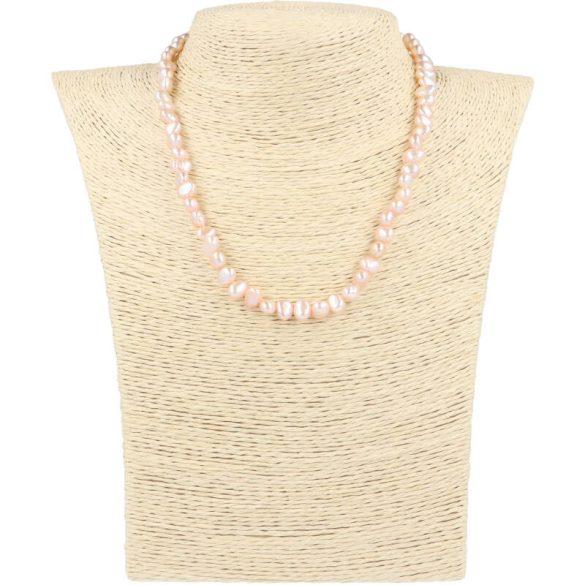 Barokk, lila tenyésztett gyöngy nyaklánc, 5-6 mm, 40 cm