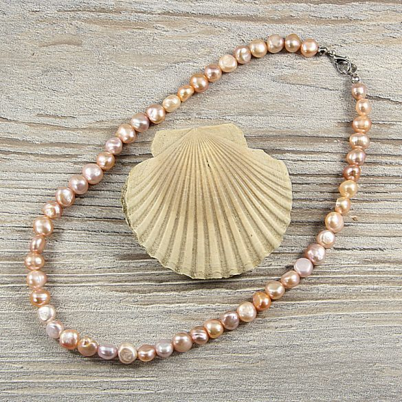 Barokk, lila tenyésztett gyöngy nyaklánc, 8-9 mm, 40 cm