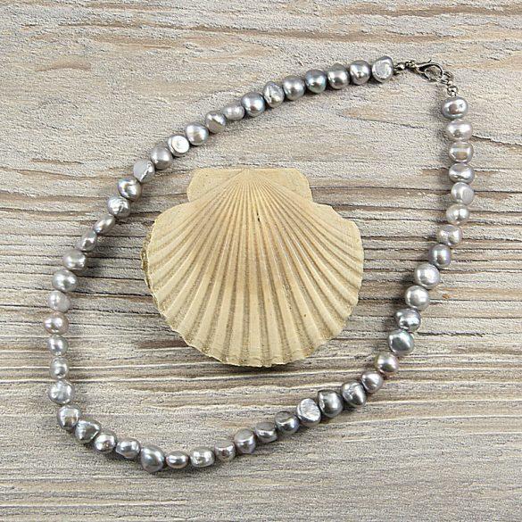 Barokk, szürke tenyésztett gyöngy nyaklánc, 8-9 mm, 40 cm