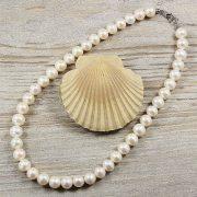 Potátó, fehér tenyésztett gyöngy nyaklánc, 10-11 mm, 40 cm (AA)