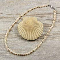 Potátó, fehér tenyésztett gyöngy nyaklánc, 5-5,5 mm, 40 cm (AA)