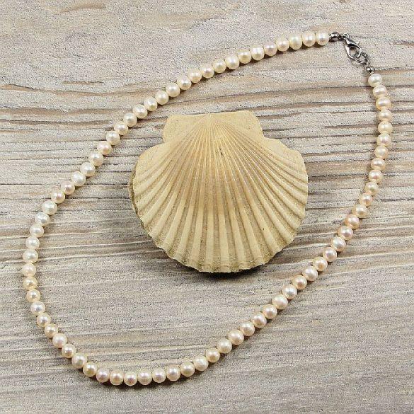 Potátó, fehér tenyésztett gyöngy nyaklánc, 5-6 mm, 40 cm