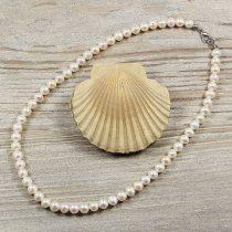 Potátó, fehér tenyésztett gyöngy nyaklánc, 6,5-7 mm, 40 cm (AA)