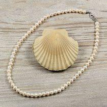 Potátó, fehér tenyésztett gyöngy nyaklánc, 6-6,5 mm, 40 cm (AA)