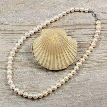 Potátó, fehér tenyésztett gyöngy nyaklánc, 7,5-8 mm, 40 cm (AA)