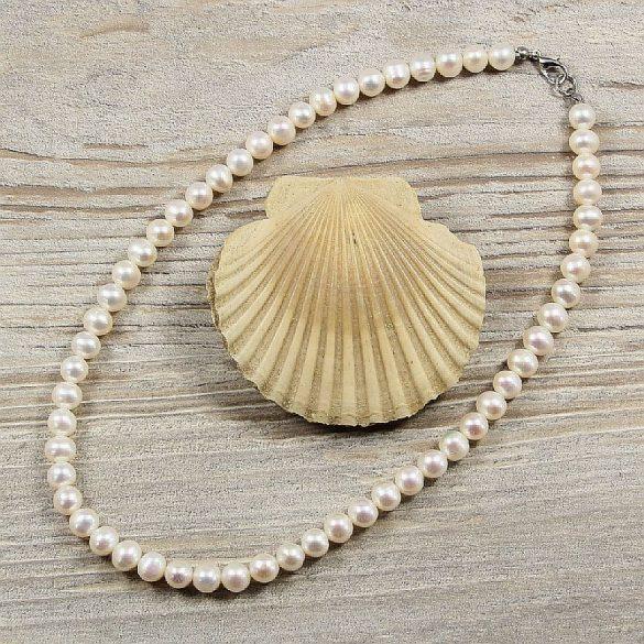 Potátó, fehér tenyésztett gyöngy nyaklánc, 7-7,5 mm, 40 cm (AA)