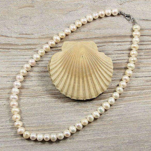 Potátó, fehér tenyésztett gyöngy nyaklánc, 7-8 mm, 40 cm