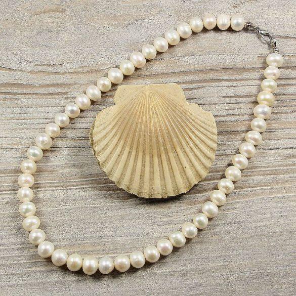 Potátó, fehér tenyésztett gyöngy nyaklánc, 8,5-9,5 mm, 40 cm