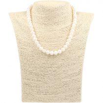 Potátó, fehér tenyésztett gyöngy nyaklánc, 8-8,5 mm, 40 cm