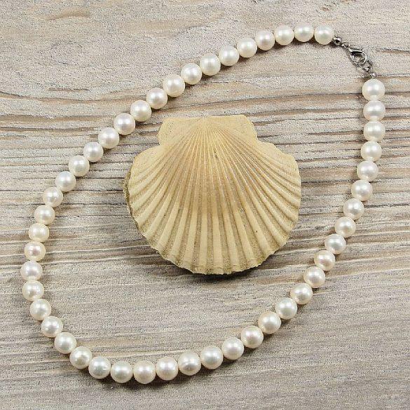 Potátó, fehér tenyésztett gyöngy nyaklánc, 9-10 mm, 40 cm (AA)