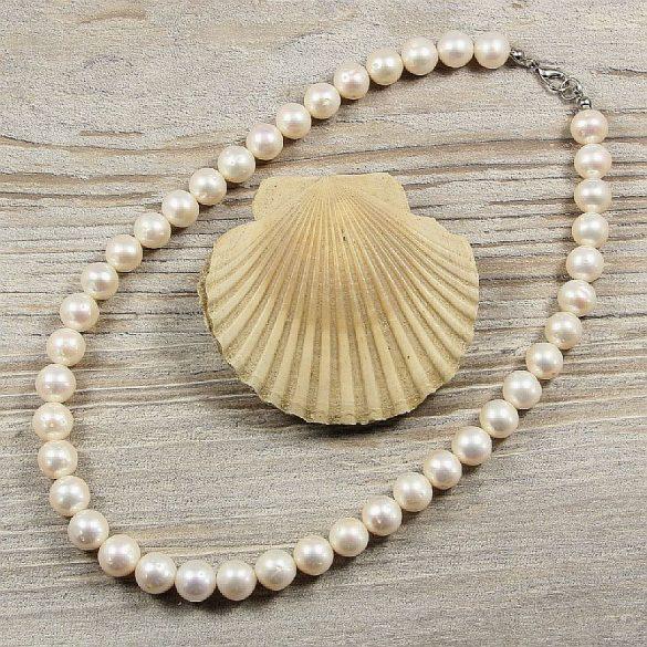 Potátó, fehér tenyésztett gyöngy nyaklánc, 9,5-10,5 mm, 40 cm (AA)