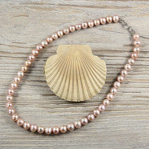 Potátó, lila tenyésztett gyöngy nyaklánc, 8-9 mm, 40 cm