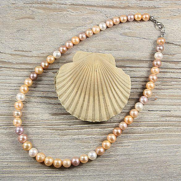 Potátó, multicolor tenyésztett gyöngy nyaklánc, 7,5-8,5 mm, 40 cm