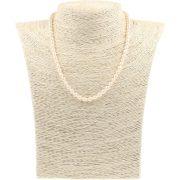 Rizsszemű, fehér tenyésztett gyöngy nyaklánc, 4-4,5 mm, 40 cm (AA)