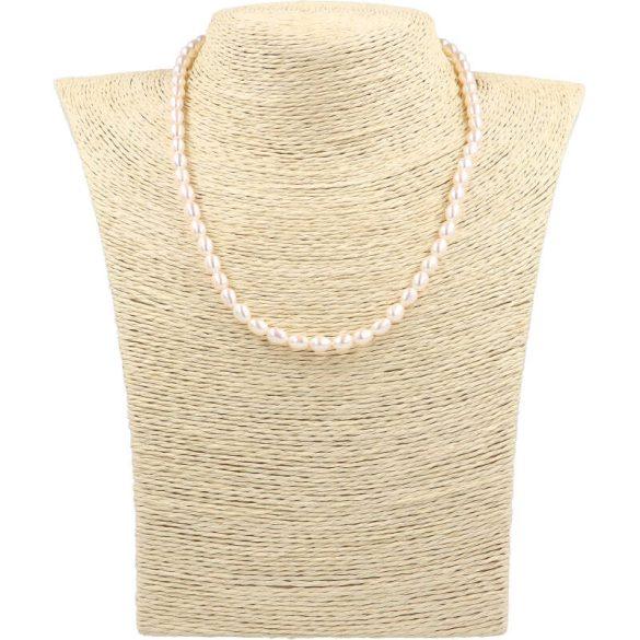 Rizsszemű, fehér tenyésztett gyöngy nyaklánc, 5-5,5 mm, 40 cm (AA)