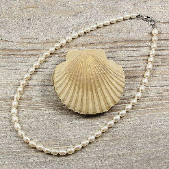 Rizsszemű, fehér tenyésztett gyöngy nyaklánc, 5,5-6 mm, 40 cm (AA)