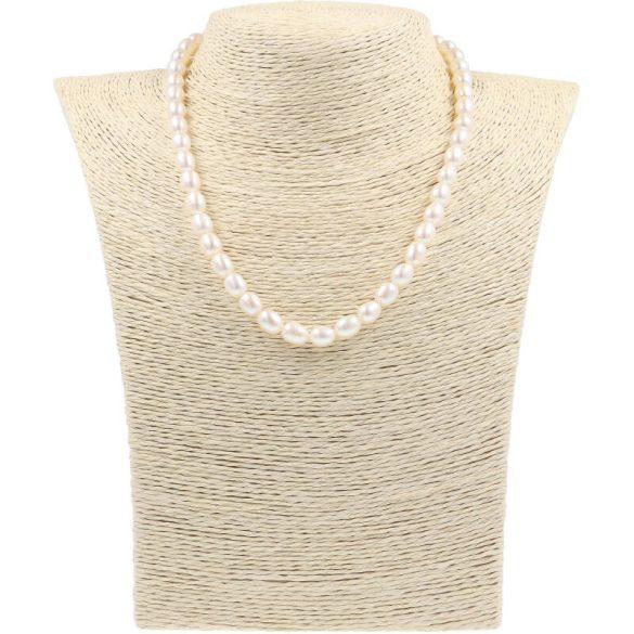 Rizsszemű, fehér tenyésztett gyöngy nyaklánc, 6,5-7 mm, 40 cm (AA)