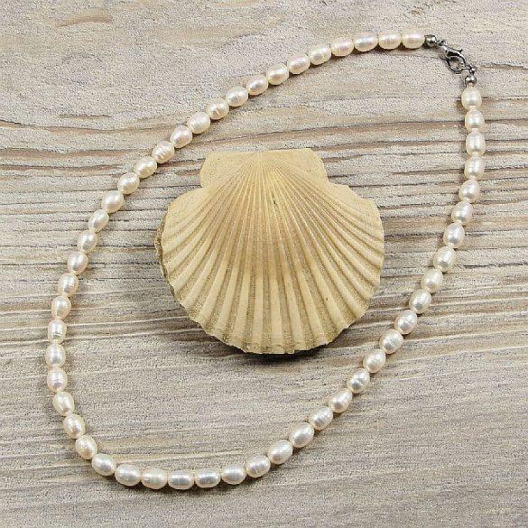 Rizsszemű, fehér tenyésztett gyöngy nyaklánc, 6-6,5 mm, 40 cm