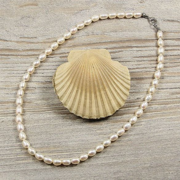 Rizsszemű, fehér tenyésztett gyöngy nyaklánc, 6-6,5 mm, 40 cm (AA)