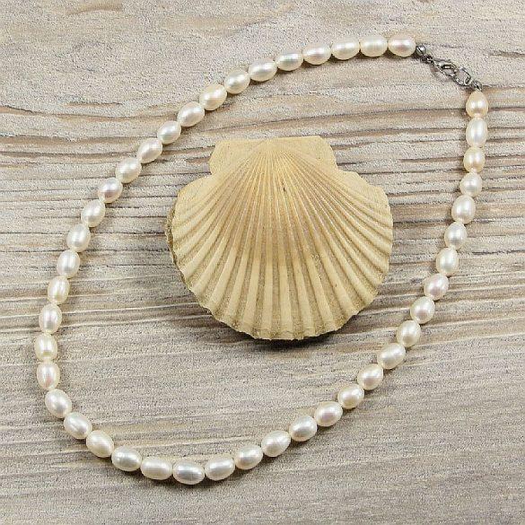 Rizsszemű, fehér tenyésztett gyöngy nyaklánc, 7-7,5 mm, 40 cm (AA)