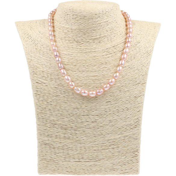 Rizsszemű, lila tenyésztett gyöngy nyaklánc, 7-8 mm, 40 cm
