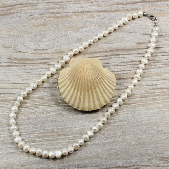 Barokk, fehér tenyésztett gyöngy nyaklánc, 7,5-8,5 mm, 50 cm