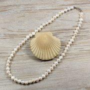 Barokk, fehér tenyésztett gyöngy nyaklánc, 8,5-9,5 mm, 50 cm
