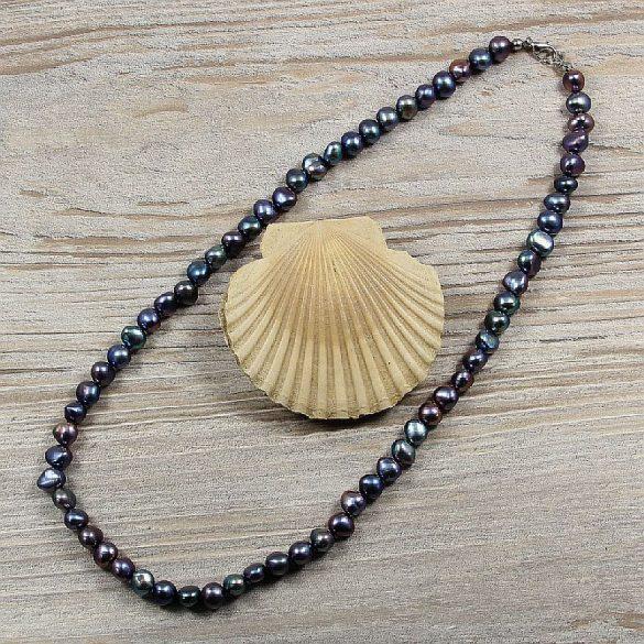 Barokk, fekete tenyésztett gyöngy nyaklánc, 7,5-8,5 mm, 50 cm