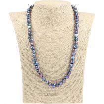 Barokk, fekete tenyésztett gyöngy nyaklánc, 8,5-9,5 mm, 50 cm