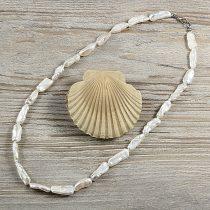 Biwa, fehér, hosszában fúrt tenyésztett gyöngy nyaklánc, 7x20 mm, 50 cm