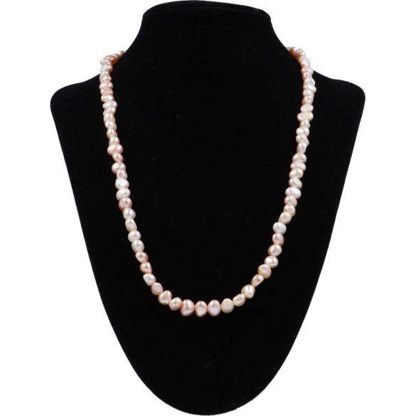 Barokk, lila tenyésztett gyöngy nyaklánc, 5-6 mm, 50 cm