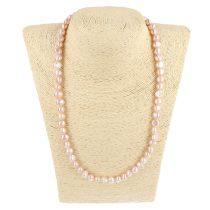 Barokk, lila tenyésztett gyöngy nyaklánc, 8-9 mm, 50 cm