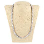 Barokk, szürke tenyésztett gyöngy nyaklánc, 8-9 mm, 50 cm