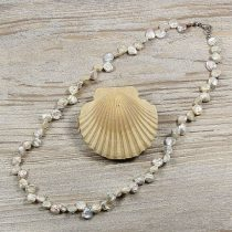 Keshi, szürke tenyésztett gyöngy nyaklánc, 6-8 mm, 50 cm