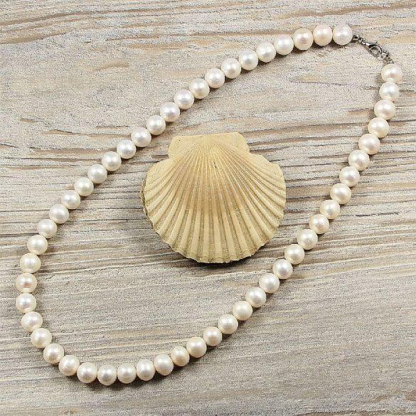 Potátó, fehér tenyésztett gyöngy nyaklánc, 10-11 mm, 50 cm (AA)
