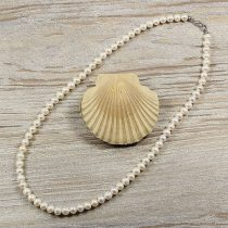 Potátó, fehér tenyésztett gyöngy nyaklánc, 6,5-7 mm, 50 cm (AA)