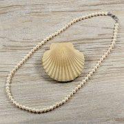 Potátó, fehér tenyésztett gyöngy nyaklánc, 6-6,5 mm, 50 cm (AA)