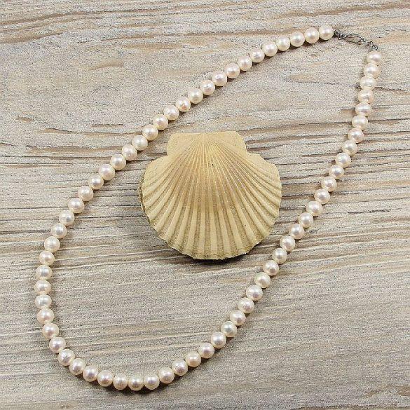 Potátó, fehér tenyésztett gyöngy nyaklánc, 7,5-8 mm, 50 cm (AA)