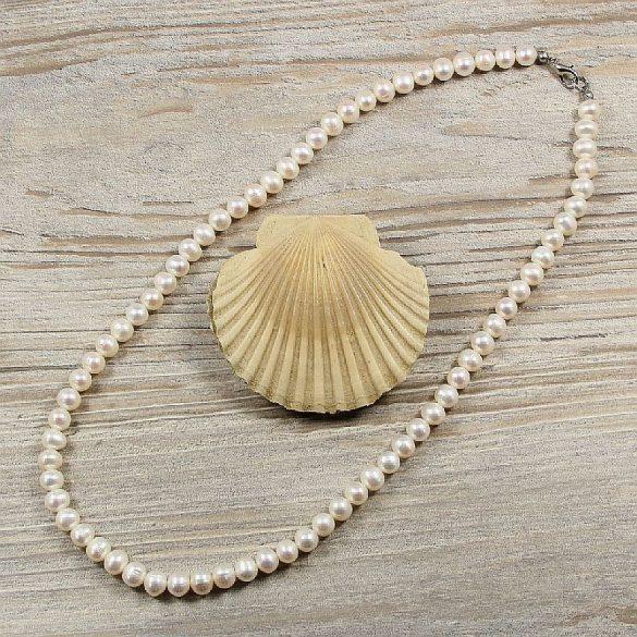 Potátó, fehér tenyésztett gyöngy nyaklánc, 7-7,5 mm, 50 cm (AA)