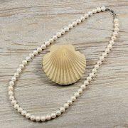 Potátó, fehér tenyésztett gyöngy nyaklánc, 8-8,5 mm, 50 cm