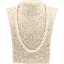 Potátó, fehér tenyésztett gyöngy nyaklánc, 8-8,5 mm, 50 cm (AA)