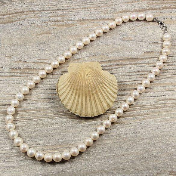 Potátó, fehér tenyésztett gyöngy nyaklánc, 9,5-10,5 mm, 50 cm (AA)