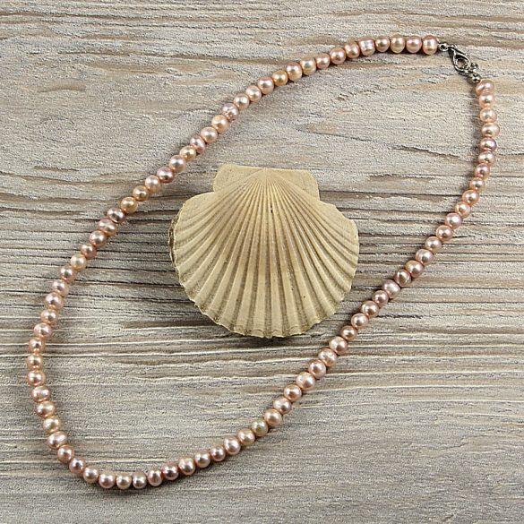 Potátó, lila tenyésztett gyöngy nyaklánc, 5-6 mm, 50 cm