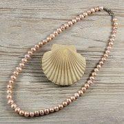 Potátó, lila tenyésztett gyöngy nyaklánc, 8-9 mm, 50 cm