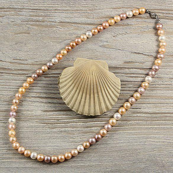 Potátó, multicolor tenyésztett gyöngy nyaklánc, 7,5-8,5 mm, 50 cm