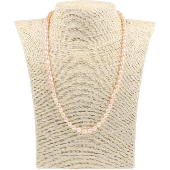 Rizsszemű, barack tenyésztett gyöngy nyaklánc, 5-6 mm, 50 cm