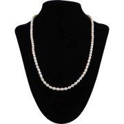 Rizsszemű, fehér tenyésztett gyöngy nyaklánc, 4-4,5 mm, 50 cm (AA)