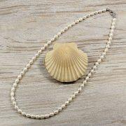 Rizsszemű, fehér tenyésztett gyöngy nyaklánc, 5,5-6 mm, 50 cm (AA)