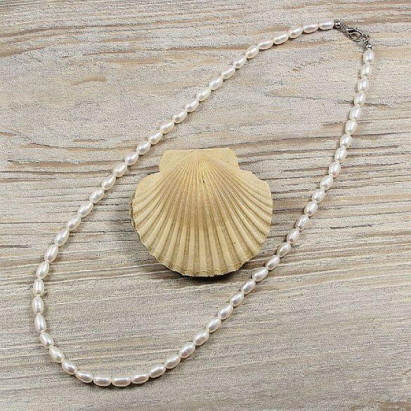 Rizsszemű, fehér tenyésztett gyöngy nyaklánc, 5-6 mm, 50 cm (AA)